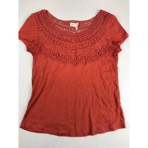 Anthropologie Meadow Rue Orange Crochet Bib Tee S